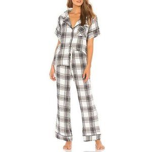 Plush Womens XSMALL White Black Plaid Short Sleeve